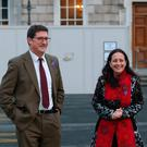 Green Party Deputy leader Catherine Martin TD with Green Party leader Eamon Ryan TD at Government Buildings, Dublin today.Pic Stephen Collins/ Collins Photos.