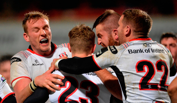 Andrew Trimble, 23, of Ulster celebrates with team-mates after scoring his side's second try