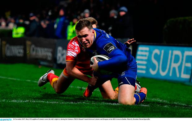 Rory O'Loughlin of Leinster scores his side's eight try