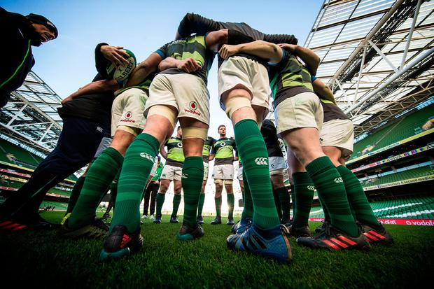 Captain Rory Best and his Irish team-mates at yesterday's captain's run at the Aviva Stadium ahead of today's clash with Argentina. Photo: INPHO