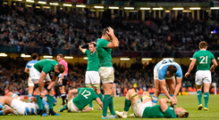 Rob Kearney and his team-mates show their disappointment after losing to Argentina in the 2015 World Cup quarter final in Cardiff. Photo: Sportsfile