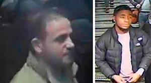 Handout CCTV stills issued by British Transport Police of two men police would like to speak to after an altercation between the pair on the platform sparked a mass evacuation at Oxford Circus tube station in central London.