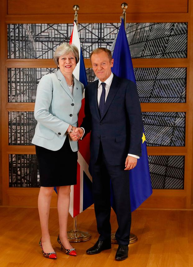 Theresa May and European Council president Donald Tusk meet in Brussels. Picture: AP