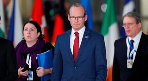 Minister for Foreign Affairs Simon Coveney arrives at the Eastern Partnership summit at the European Council Headquarters in Brussels. Picture: Reuters