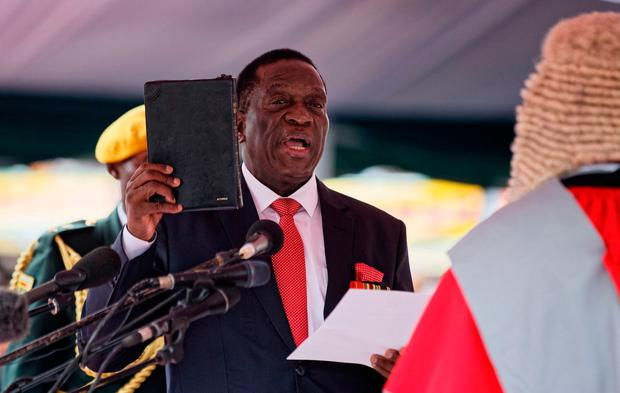 Mr Mnangagwa is sworn in. Photo: AP