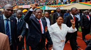 Emmerson Mnangagwa and his wife Auxillia arrive at the Zimbabwe presidential inauguration ceremony in the capital Harare. Photo: AP