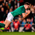 Jacob Stockdale of Ireland scores his side's first try