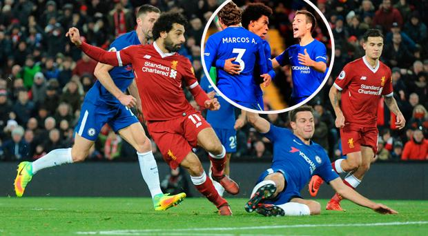 Mohamed Salah opens the scoring at Anfield and (inset) Willian celebrates