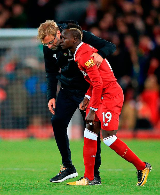 Liverpool manager Jurgen Klopp with Sadio Mane