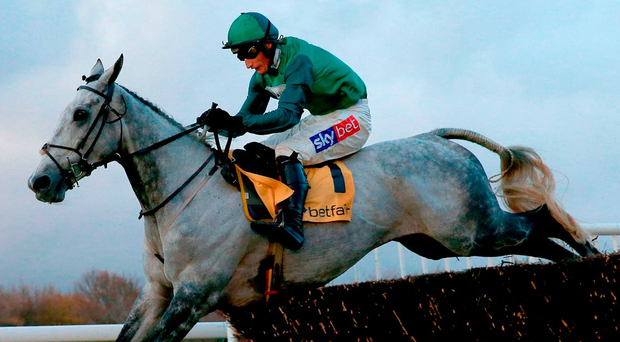 Bristol De Mai ridden by Daryl Jacob clears the last fence to win the Betfair Chase at Haydock. Photo: Clint Hughes/PA