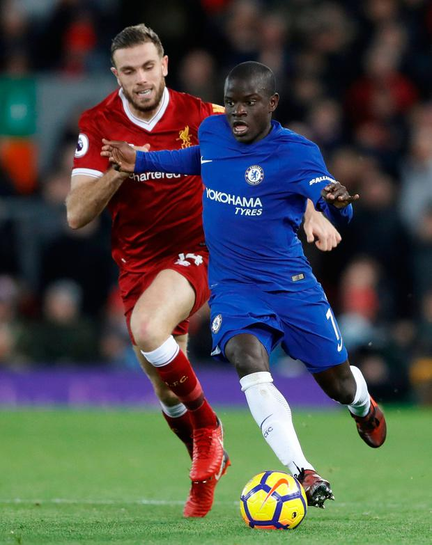 Chelsea's N'Golo Kante in action with Liverpool's Jordan Henderson. Photo: Carl Recine/Reuters