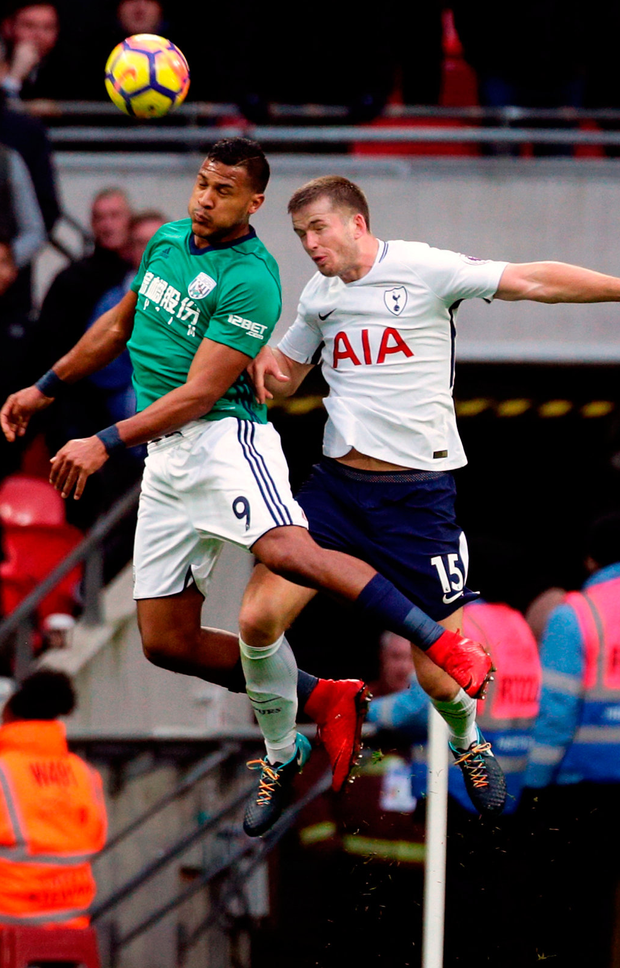 West Bromwich Albion's Salomon Rondon (left) and Tottenham Hotspur's Eric Dier battle for the ball in the air. Photo: Yui Mok/PA