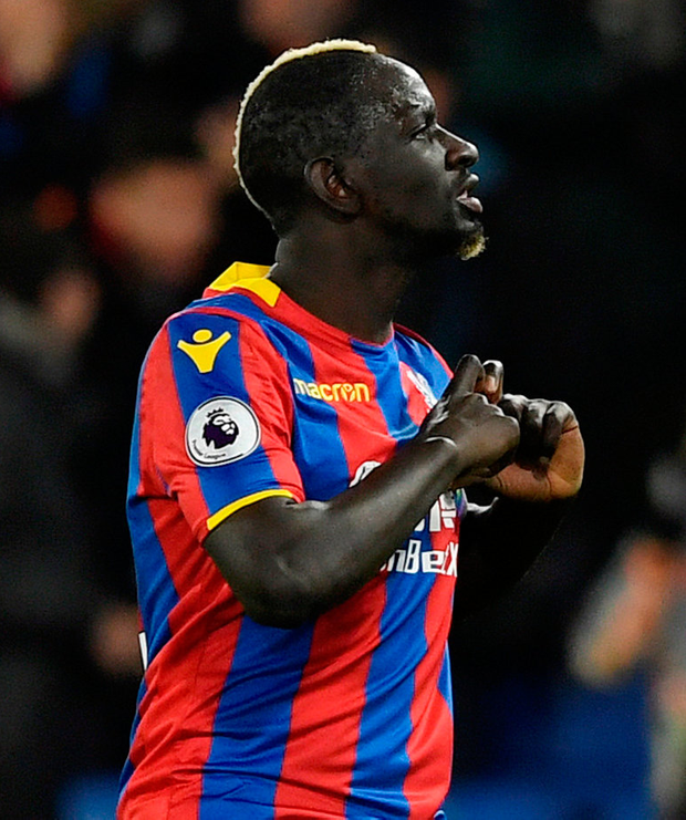 Crystal Palace's Mamadou Sakho celebrates scoring his side's winning goa. Photo: Tony O'Brien/Reuters
