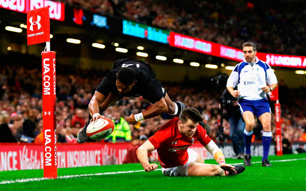 Waisake Naholo of New Zealand touches down for the first try Photo: Getty