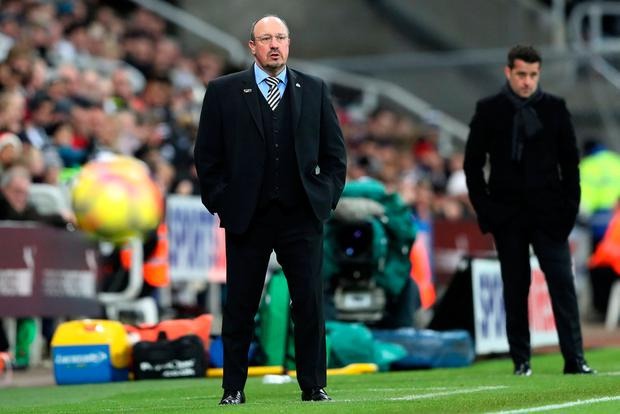 Watford manager Marco Silva and Newcastle United manager Rafael Benitez during the match. Photo: Scott Heppell/Reuters