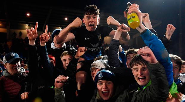 Dylan Gavin of Athlone Town celebates with supporters