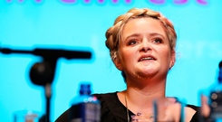 ONE VOICE: Louise McSharry, RTE 2fm presenter, spoke at Liberty Hall at the NWCI's FemFest. Photo: Steve Humphreys