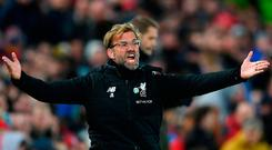 Jurgen Klopp expresses his anger from the sidelines Photo: Getty