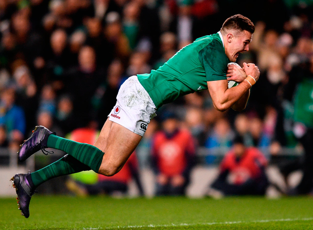 Jacob Stockdale scores the first of his two tries for Ireland in the 28-19 victory over Argentina at the Aviva Stadium yesterday. Photo: Ramsey Cardy