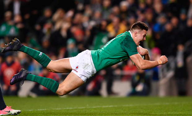 25 November 2017; Jacob Stockdale of Ireland scores his side's first try during the Guinness Series International match between Ireland and Argentina at the Aviva Stadium in Dublin. Photo by Ramsey Cardy/Sportsfile