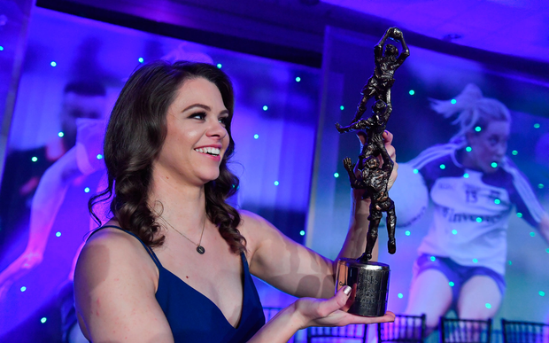 25 November 2017; Noelle Healy of Dublin with her TG4 Senior Players' Player of the Year award during the TG4 Ladies Football All-Star Awards at the CityWest Hotel in Saggart, Co Dublin. Photo by Brendan Moran/Sportsfile