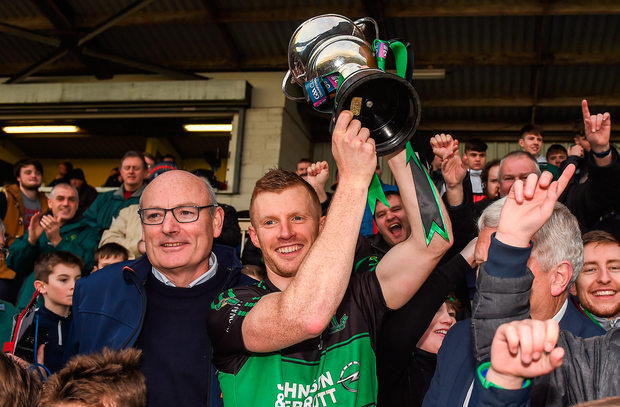 26 November 2017; Nemo Rangers captain Aidan OReilly lifting the cup after the AIB Munster GAA Football Senior Club Championship Final match between Dr. Crokes and Nemo Rangers at Páirc Ui Rinn in Cork. Photo by Eóin Noonan/Sportsfile