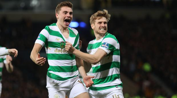 James Forrest of Celtic celebrates his goal (Celtics 1st)with Stuart Armstrong during the Betfred Cup Final at Hampden Park on November 26, 2017 in Glasgow, Scotland. (Photo by Steve Welsh/Getty Images)