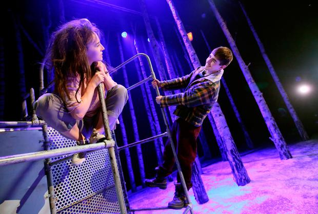 Craig Connolly (Oskar) and Katie Honan (Eli) in Let the Right One In at the Abbey. Photo: Mark Stedman