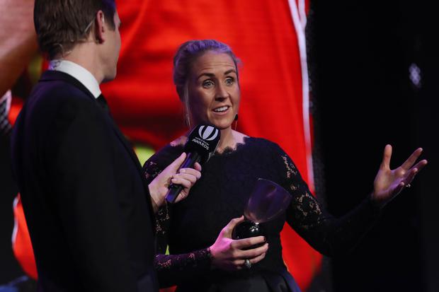 Joy Neville is interviewed by Alex Payne after receiving the World Rugby Referee Award during the World Rugby Awards 2017 in the Salle des Etoiles at Monte-Carlo Sporting Club on November 26, 2017 in Monte-Carlo, Monaco. (Photo by Dave Rogers - World Rugby/World Rugby via Getty Images)