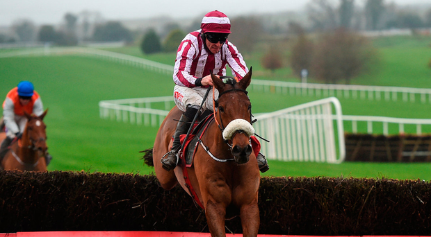 Mala Beach, with Davy Russell up, jump the last on the way to winning the Ladbrokes Troytown Handicap Chase at Navan. Photo: Sportsfile