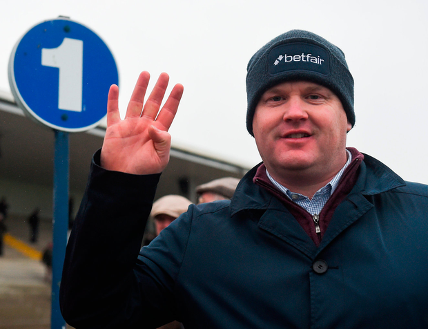 Gordon Elliott celebrates after winning the Troytown Handicap Chase for the fourth time in a row. Photo: Sportsfile