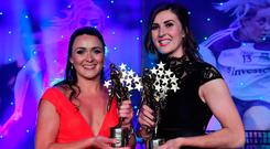 Caroline Kelly and Lorraine Scanlon of Kerry with their All-Star awards. Photo: Brendan Moran/Sportsfile