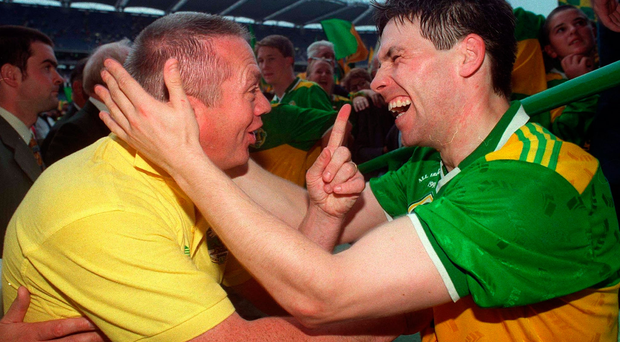 The late great Páidí Ó Sé celebrates with Stephen Stack after Kerry's 1997 All Ireland victory. Photo: Sportsfile