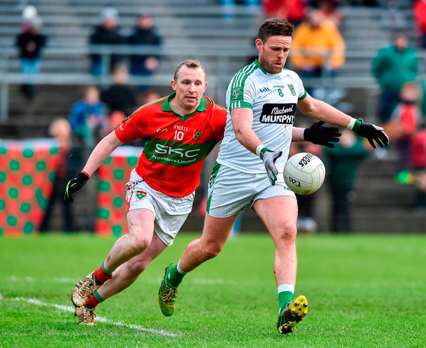Moorefield's Cian O'Connor gets past Stephen Byrne during the AIB Leinster Club SFC semi-final in Aughrim. Photo: Sportsfile