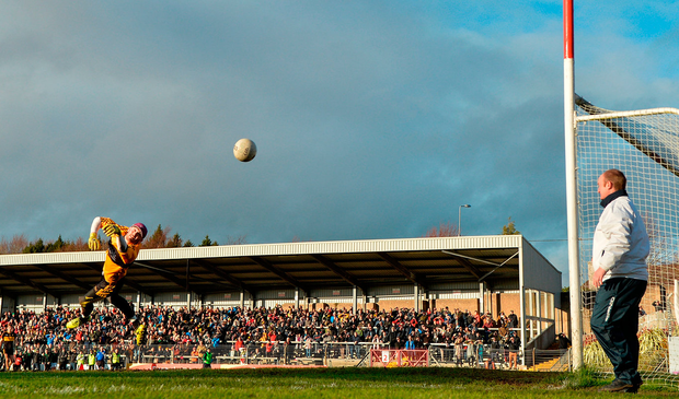 Dr Crokes' Shane Murphy makes a save from a Luke Connolly shot. Photo: Sportsfile