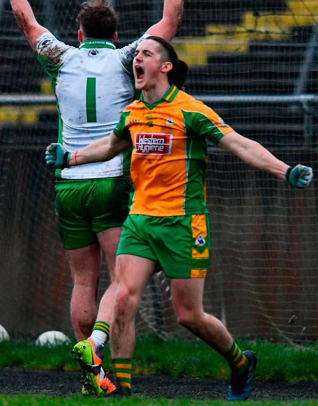 Kieran Molloy celebrates at the final whistle of Corofin's extra-time win in yesterday's AIB Connacht club SFC final in Tuam. Photo: Sportsfile