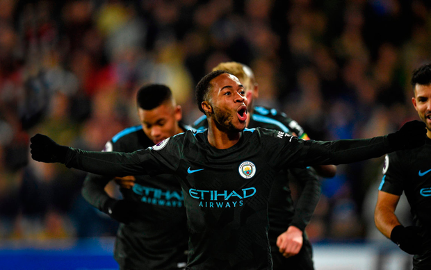 Raheem Sterling celebrates after scoring City's second goal against Huddersfield Photo: Getty