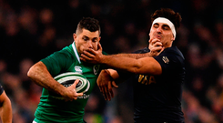 Rob Kearney gets a mouthfull as he attempts to hand-off Argentina's Pablo Matera Photo: Ramsey Cardy/Sportsfile