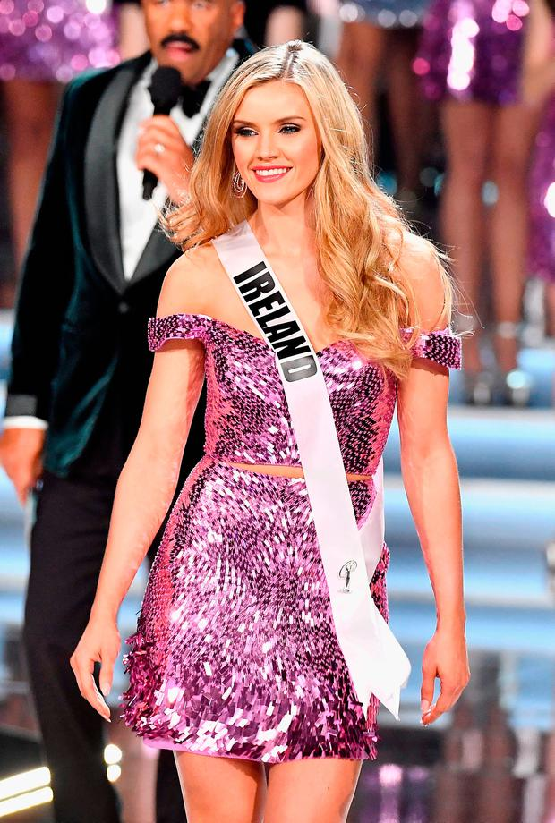 Miss Ireland 2017 Cailin Aine Ni Toibin is named a top 16 finalist during the 2017 Miss Universe Pageant at The Axis at Planet Hollywood Resort & Casino on November 26, 2017 in Las Vegas, Nevada. (Photo by Frazer Harrison/Getty Images)