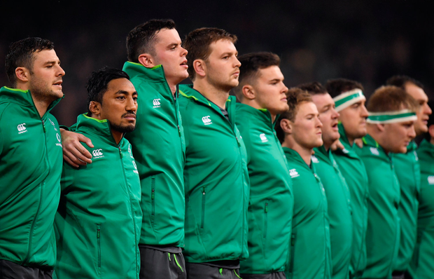 11 November 2017; Bundee Aki of Ireland, 2nd from left, lines up alongside his team-mates prior to the Guinness Series International match between Ireland and South Africa at the Aviva Stadium in Dublin. Photo by Brendan Moran/Sportsfile