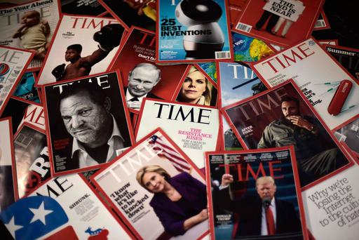 Time magazine copies are displayed on a table in Washington. Photo: AFP/Getty Images