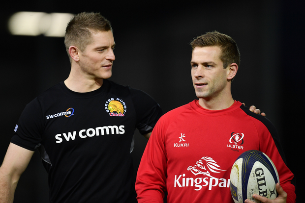 Gareth Steenson of Exeter Chiefs and Paul Marshall of Ulster ahead of the European Rugby Champions Cup Pool 5 Round 5 match between Exeter Chiefs and Ulster at Sandy Park in Exeter, England. Photo by Ramsey Cardy/Sportsfile