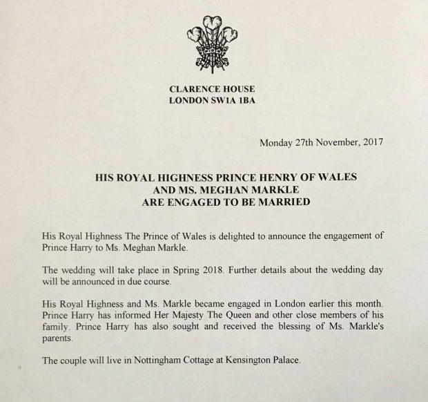 The announcement from Clarence House
