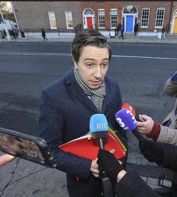 Simon Harris arriving at Government Buildings this morning (picture: Gerry Mooney)