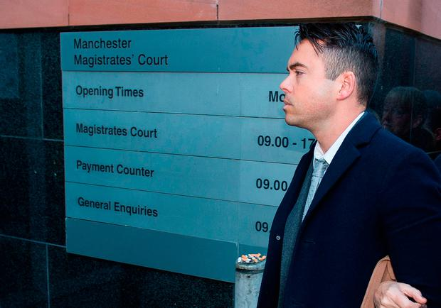 Coronation Street actor Bruno Langley arrives at Manchester Magistrates' Court charged with sexually assaulting two women at a Manchester music venue (Picture: Peter Powell/PA Wire)