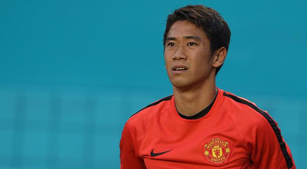 Shinji Kagawa of Manchester United in action during an open training session as part of their pre-season tour of the United States at Sunlife Stadium on August 3, 2014 in Miami, Florida. (Photo by Matthew Peters/Man Utd via Getty Images)