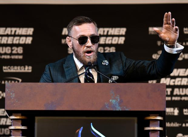 UFC lightweight champion Conor McGregor speaks to the media during a news conference at the KA Theatre at MGM Grand Hotel & Casino on August 23, 2017 in Las Vegas, Nevada. The two will meet in a super welterweight boxing match at T-Mobile Arena on August 26 in Las Vegas. (Photo by Brandon Magnus/Zuffa LLC/Zuffa LLC via Getty Images)