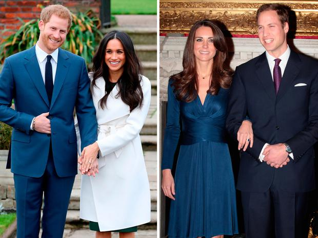 Prince Harry and Meghan Markle announcing their engagement, left, and Prince William and Kate Middleton announcing theirs in 2010
