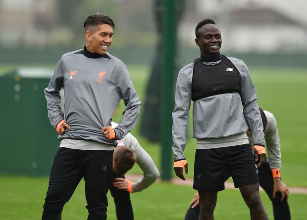 Roberto Firmino and Sadio Mane of Liverpool during a training session at Melwood Training Ground on September 25, 2017 in Liverpool, England. (Photo by Andrew Powell/Liverpool FC via Getty Images)
