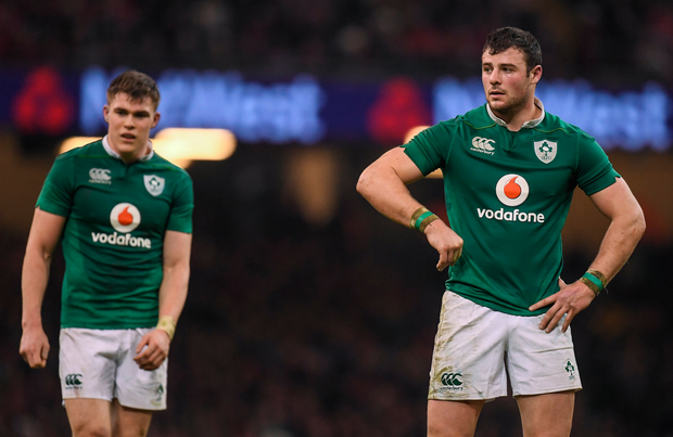 10 March 2017; Robbie Henshaw, right, and Garry Ringrose of Ireland during the RBS Six Nations Rugby Championship match between Wales and Ireland at the Principality Stadium in Cardiff, Wales. Photo by Brendan Moran/Sportsfile